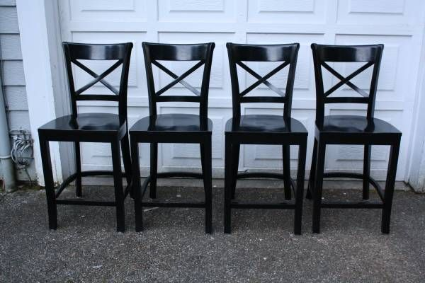 Set Of 4 Crate Barrel Vintner Black Counter Bar Stools Chair