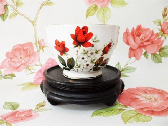 Royal Windsor Red Rose Open Sugar Bowl by BelieveToBeBeautiful
