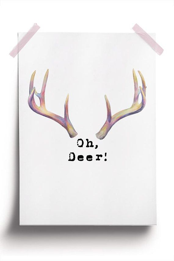 photograph about Printable Deer Antlers known as Oh Deer Printable, Deer Antler Poster, Oh Deer Print