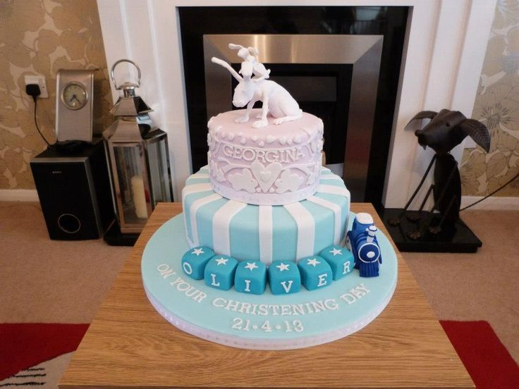 Boy And Girls Joint Christening Cake Cakes Pinterest