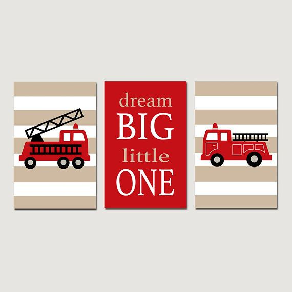 Firetruck Nursery Art Fire Truck Nursery Decor Modern Fire