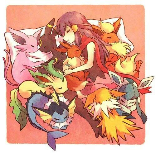 Eevee, Flareon, Jolteon, Vaporeon, Espeon, Umbreon, Glaceon, Leafeon and pokemon trainer girl