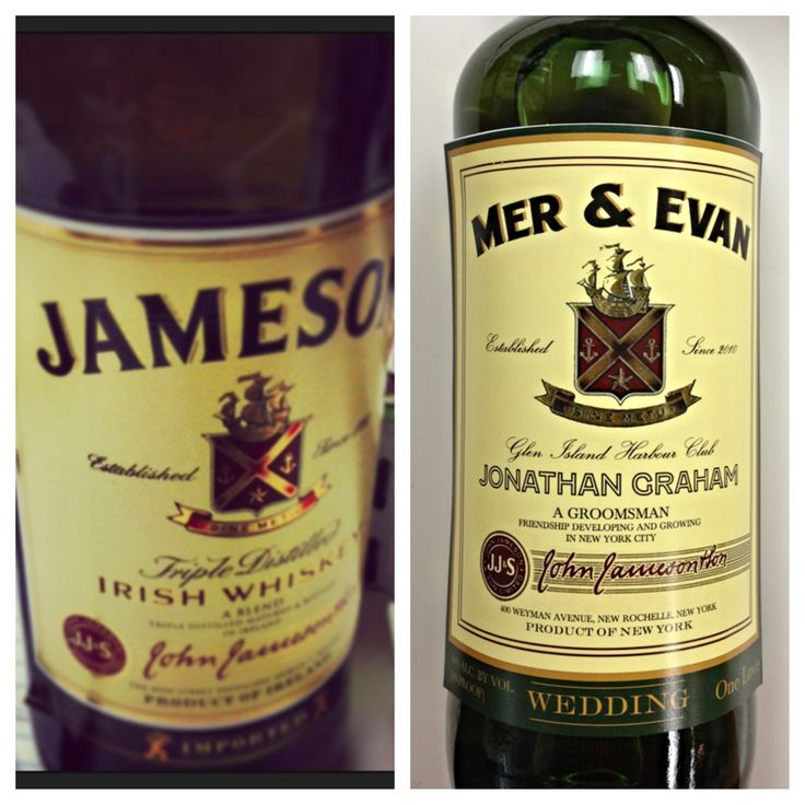 Jameson Liquor Bottle Groomsmen Gifts Personalized Liquor Bottle Labels