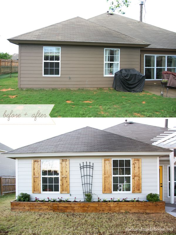 Before & after, house color/siding, shutters, planting bed & arbor entry (barely visible)