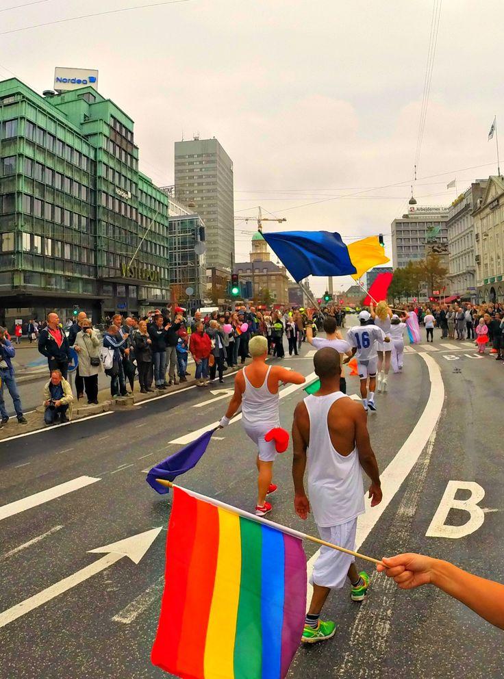 The Copenhagen Pride parade making it´s way through Vesterbrogade.
