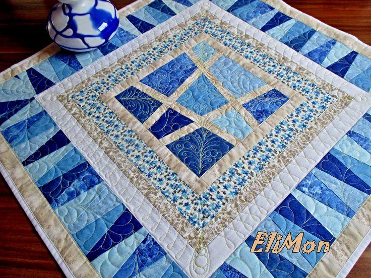 patchwork table-cloth ,blue color, quilt.