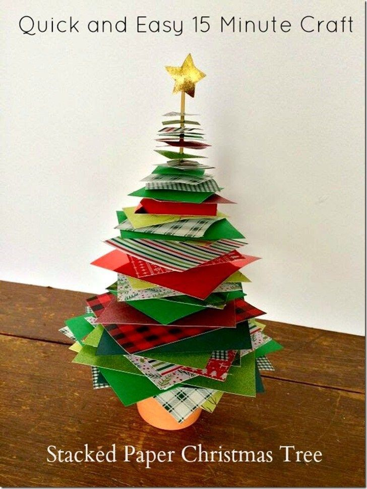 Quick And Easy 15 Minute Stacked Paper Christmas Tree Craft Christmas Tree Crafts Paper Christmas Tree Diy Paper Christmas Tree