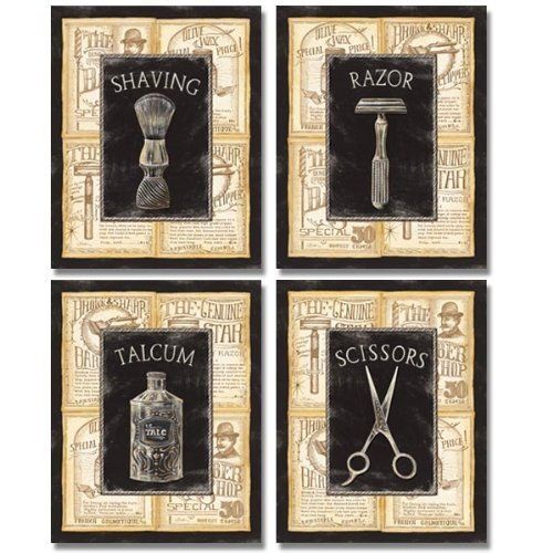 4 Vintage Barber Shop Art Prints Shave Scissors 8 x 10