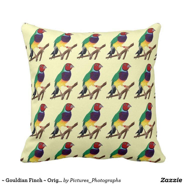 ~ Gouldian Finch ~ Original Art ~ Cushion