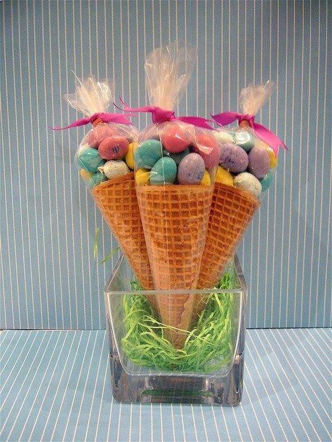 Easter M or Cadbury Mini Eggs in Sugar Cones. Such a cute and easy idea!