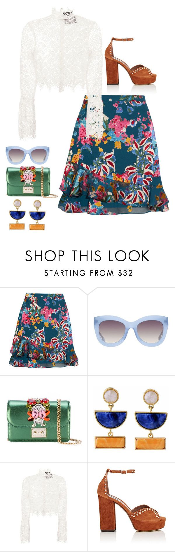 """""""Burning Love"""" by lowrilester ❤ liked on Polyvore featuring Saloni, Alice + Olivia, GEDEBE, Kakao By K, Nicholas and Tabitha Simmons"""
