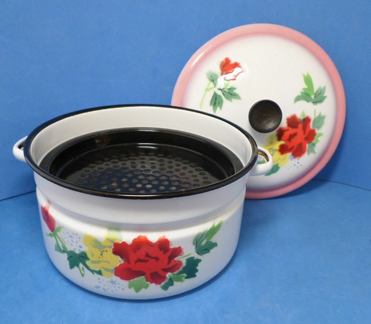 VINTAGE CHINESE BUMPER HARVEST ENAMEL,METAL STEAMER PAN,CASSEROLE bright flowers