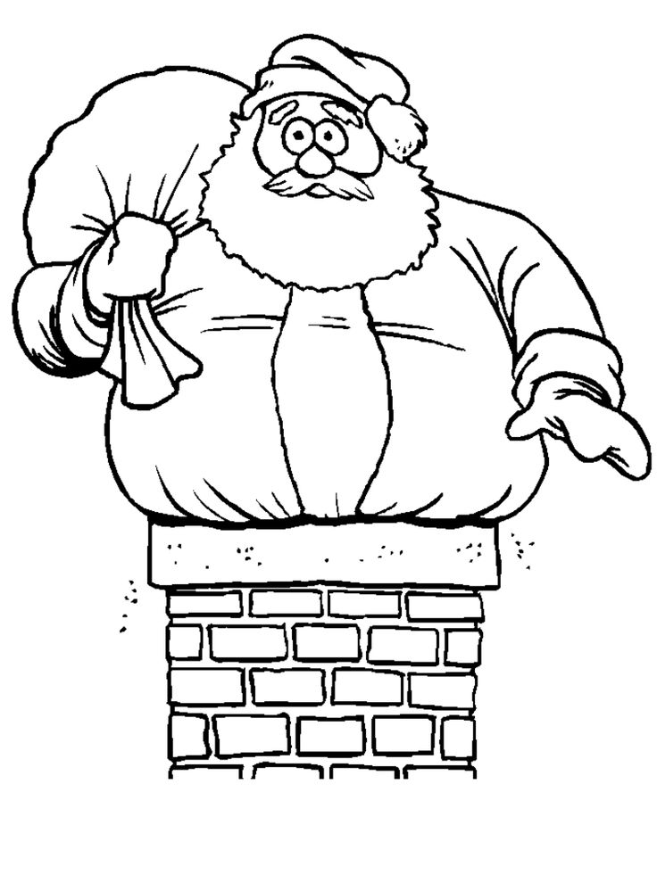 funny Santa Claus Christmas coloring pages for kids