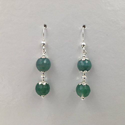 Orecchini in argento e agata verde venata