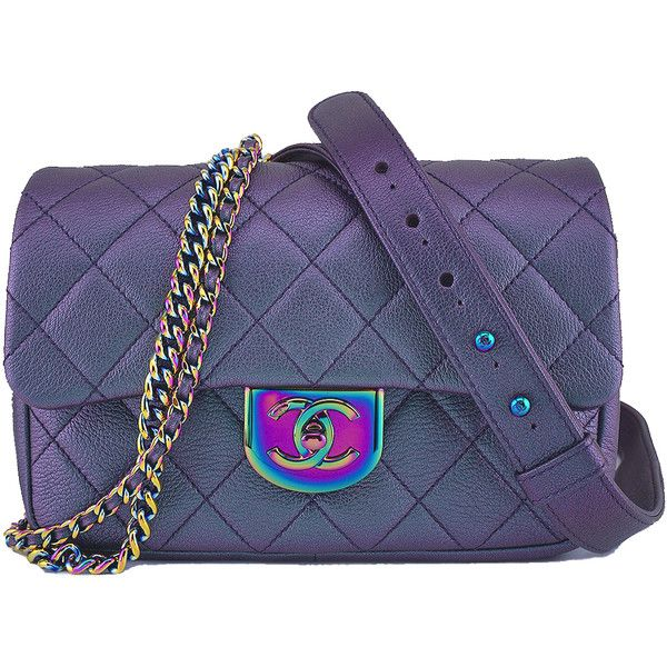 "Pre-Owned Chanel Iridescent Rainbow """"Mermaid"""" Purple Double Carry... ($4,899) ❤ liked on Polyvore featuring bags, handbags, purple, quilted purses, quilted leather purse, purple leather purse, leather handbags and quilted handbags"