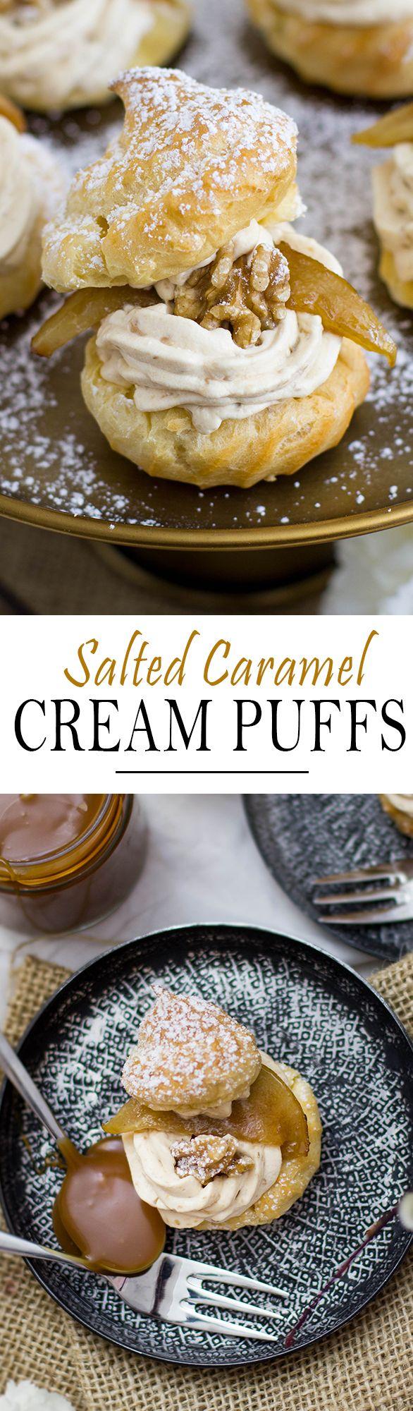 Salted Caramel Cream Puffs with Walnut and caramelized pear   Karamell Birnen Windbeutel mit salzigem Karamell, Wallnuss und karamellisierten Birnen