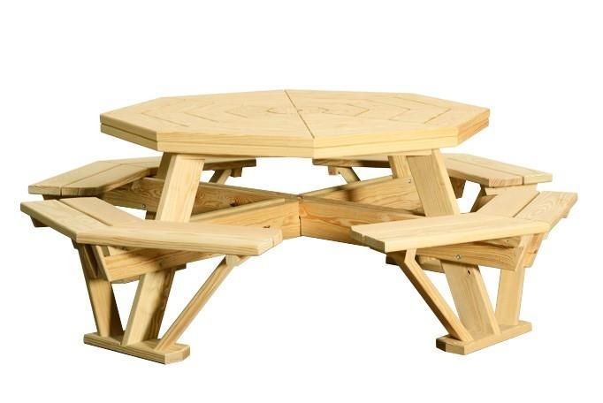 Amish Pine Wood 52 Octagon Picnic Table Octagon Picnic Table
