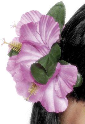 Haarclip van felgekleurde bloemen voor de hawaiiaanse look.