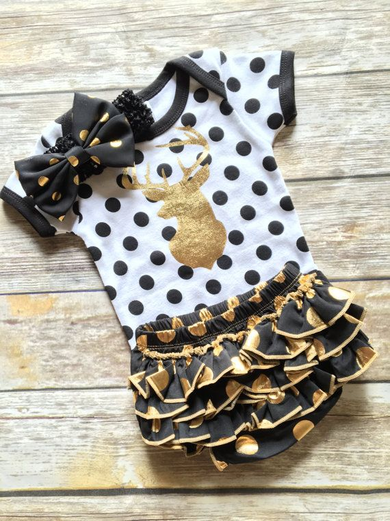 Deer Baby Girl Outfit with GOLD DEER by JamesPaigeCreations