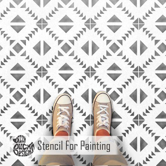 Toluca Tile Stencil For Painting Concrete Lamintate Floor Wall Tiles Garden Patio Flags Porch Geometric Diy Splashback Tolu01 Geometric Floor Tile Stencil Stencils