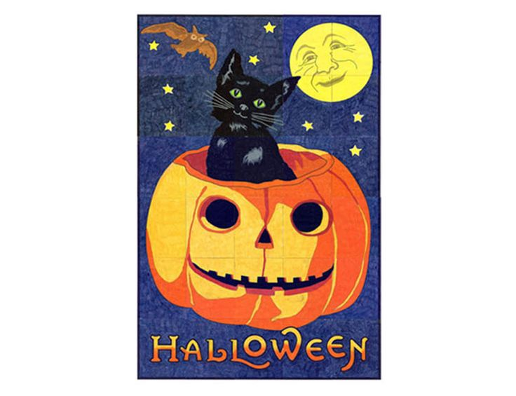 "Make your own Halloween Vintage Mural. 40"" x 60"" when complete. Just $5 for instant downloadable pdf template. #artprojectsforkids"