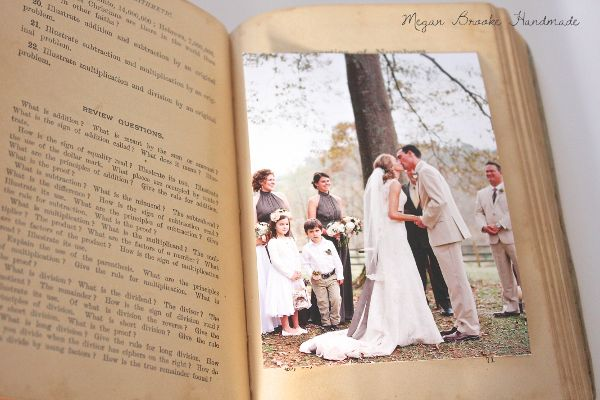 DIY photo album from an old book- Great way to repurpose books you can find at Bargain Center in Eau Claire