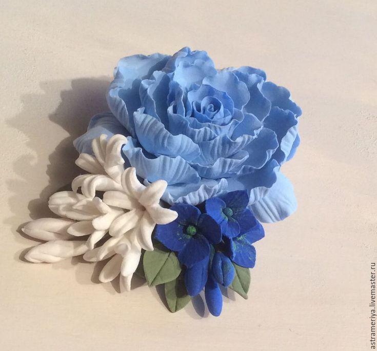 Купить Заколка зажим голубой пион и синяя гортензия - голубой, светло-голубой, синий, белый