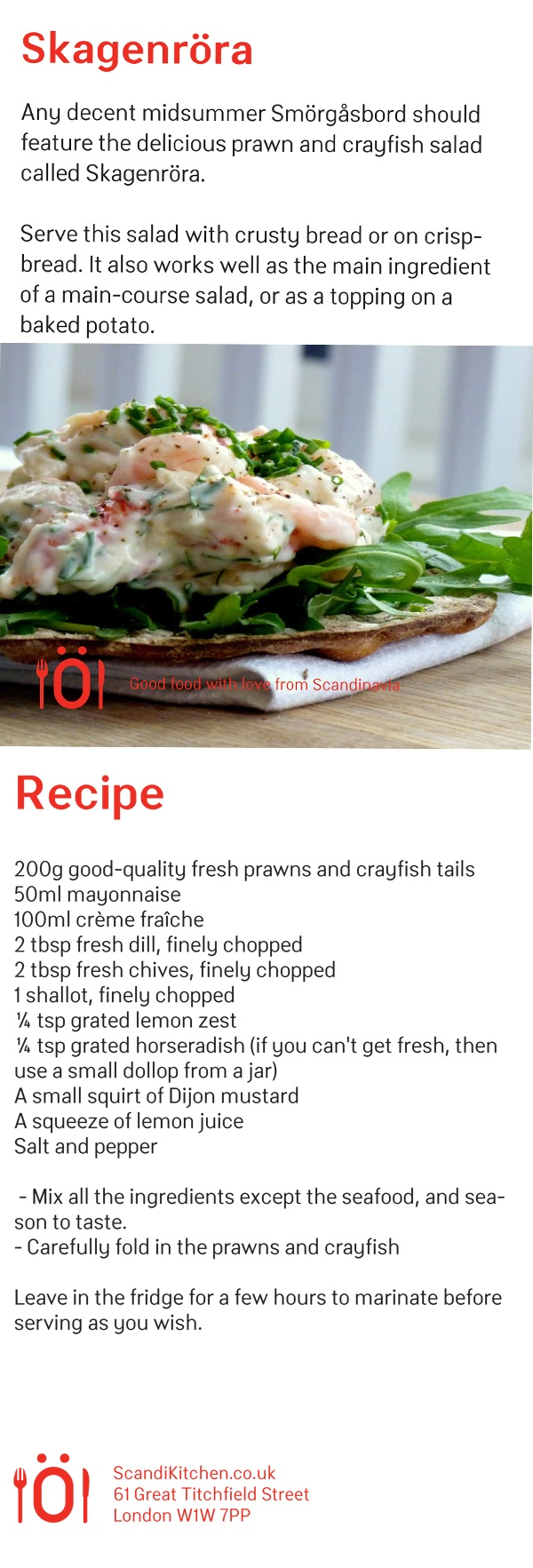 Skagenröra seafood salad - perfect for Midsummer. Here's a lovely recipe. www.scandikitchen.co.uk