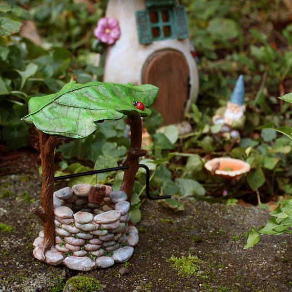DIY Retro Miniature Fairy Garden Ornament Water Well Craft Accessories Dollhouse
