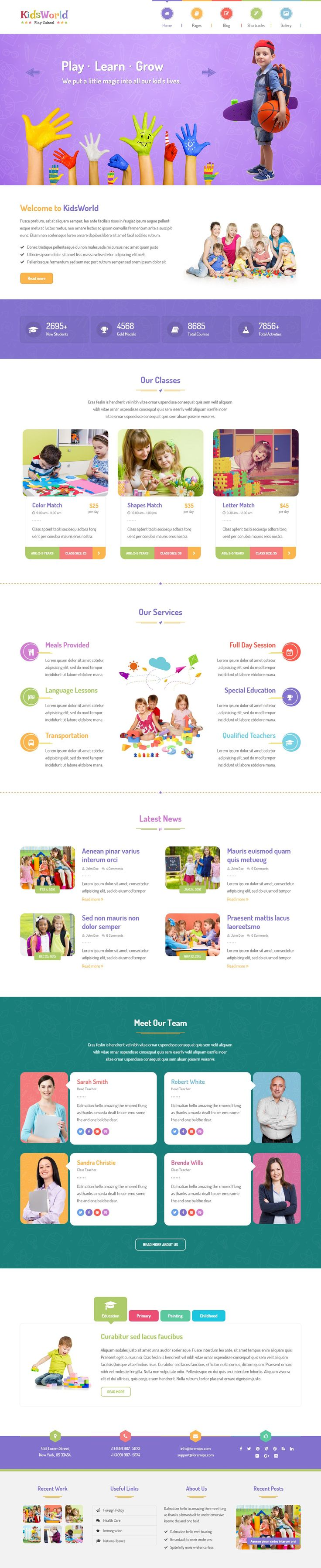 KidsWorld - Children Kindergarten WordPress Theme for Nursery, Preschool, Child…
