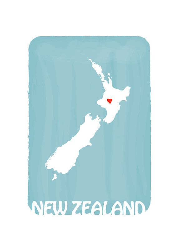 NEW ZEALAND Map Personalized Custom Color Watercolor Style Love Map Wedding Birthday Anniversary GIft Children Kids poster