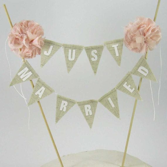 "Rustic wedding Cake topper, wedding, Blush, Linen cake bunting ""Just Married"" Banner H153 - shabby chic cake banner"