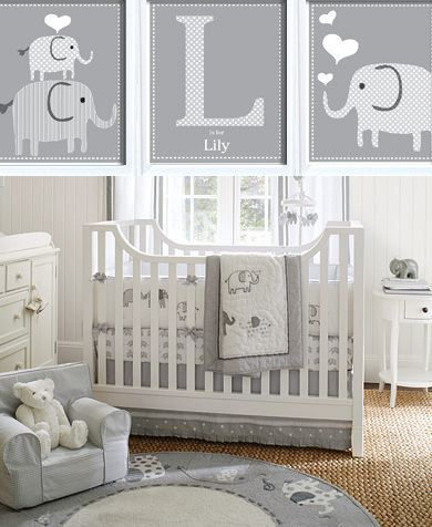 I love this Grey and white elephant nursery room theme; maybe add a pop of pink or yellow it would be perfect.