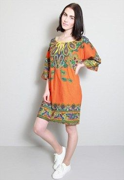 Vintage 1970's Vibrant Orange Paisley Patterned Boho Dress