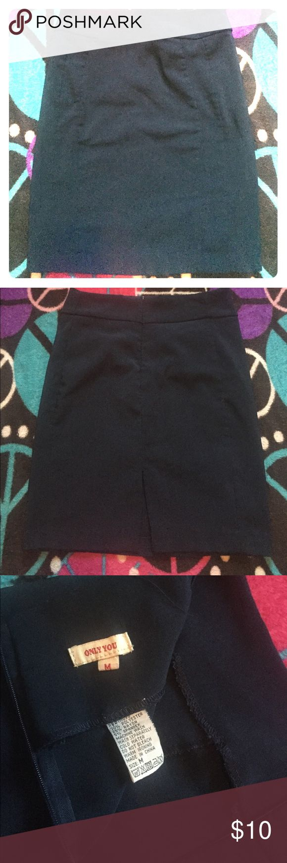 Very Sexy navy blue slim skirt. It's very slim on your body. Split in the back bottom. Comes a little above the knee. Gives hips and butt a nice shape. Skirts Midi