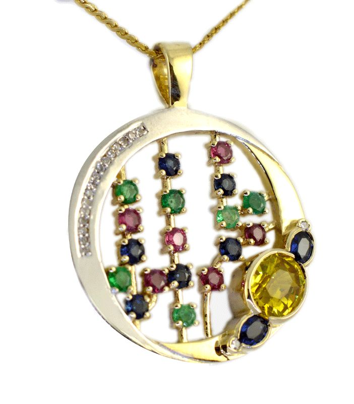 Restyled from several rings using customers gemtones, diamonds and gold to create a new pendent