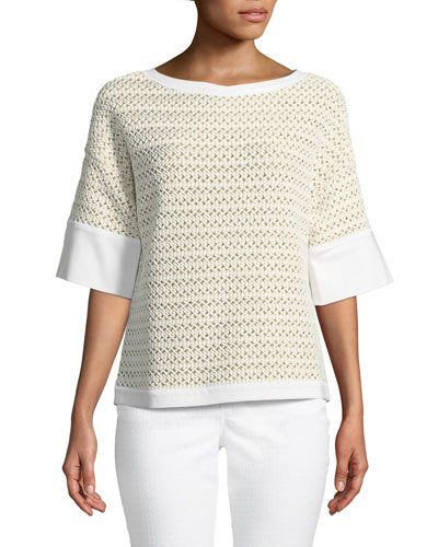 Short-Sleeve Relaxed Woven Top