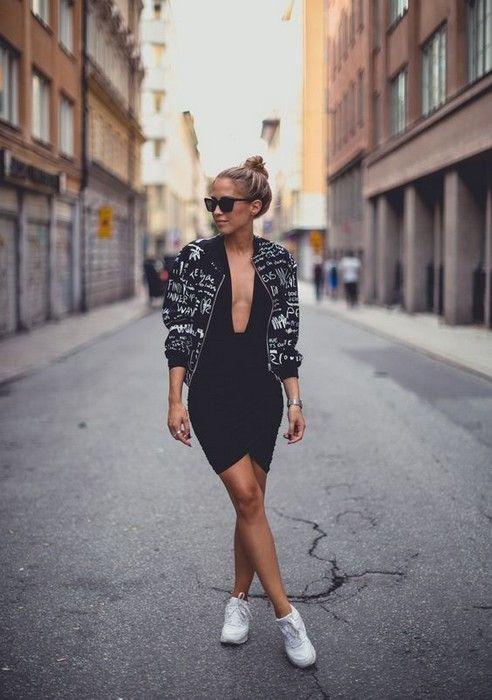 20 Looks with Swedish blogger Kenza Zouiten Glamsugar.com Dress here bomber jacket from Monki Larsson & Jennings watch Prada sunglasses
