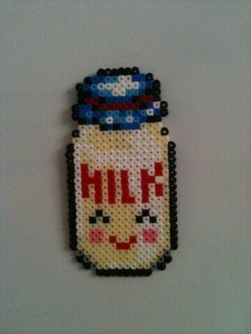 Kawaii Milk Bottle Magnet hama beads by anapeig on deviantart