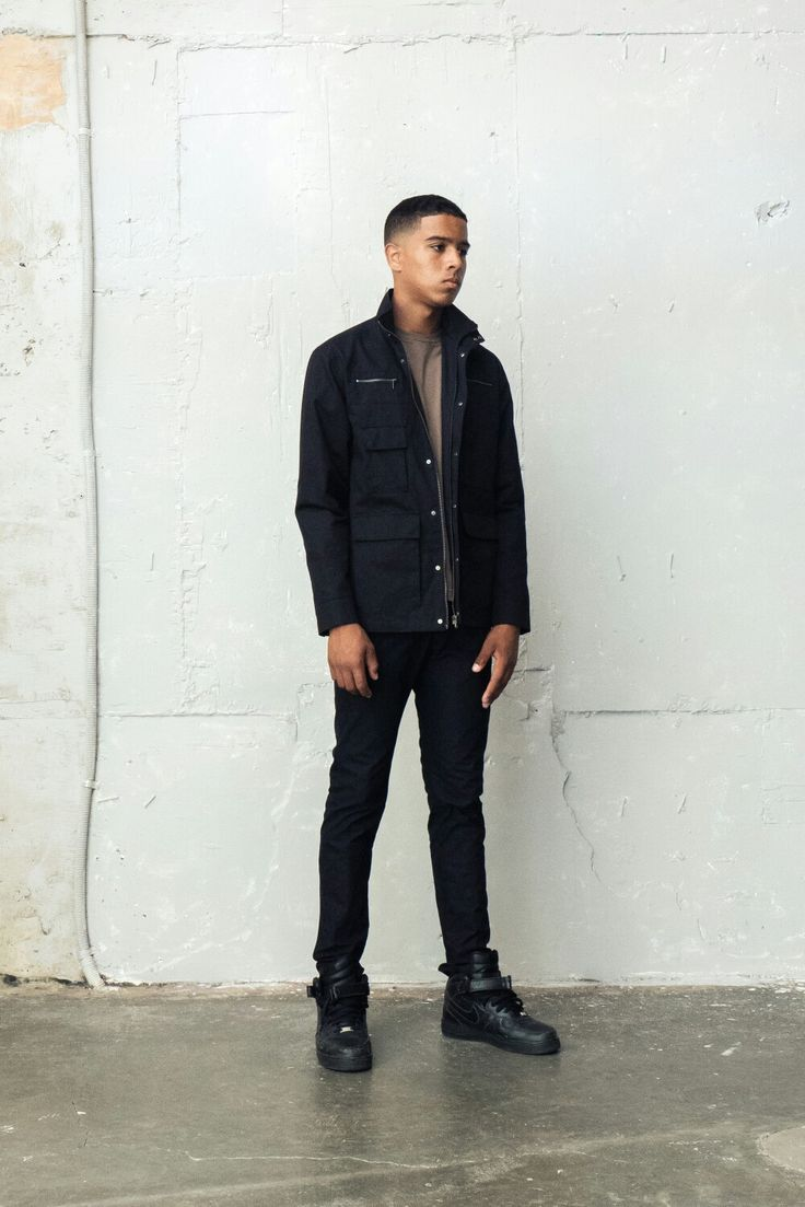 designer brand menstyle berkhan the black jacket fit , black jeans and air force1 highcut