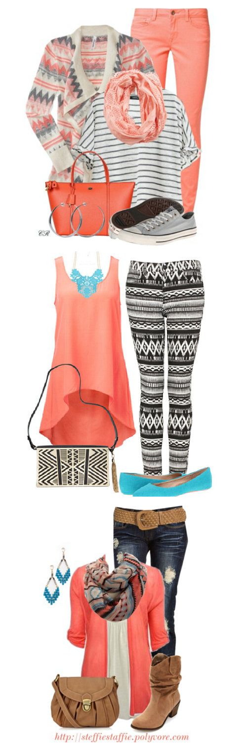 Aztec print outfits for spring. Love the pink and coral colors! Click through for sources. www.craftingintherain.com