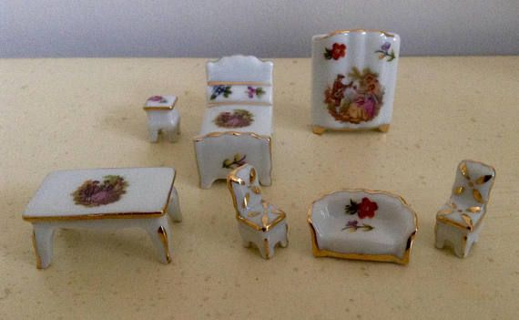Limoges Miniature Porcelain Collection. Dolls House Furniture.