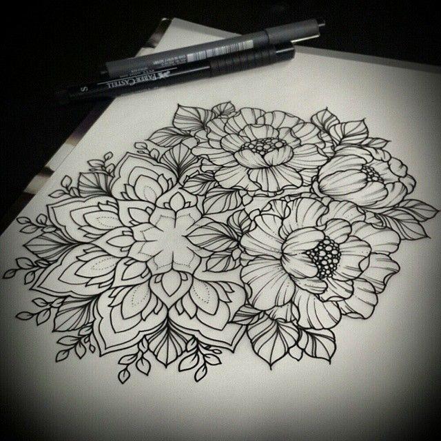 die besten 25 flower mandala tattoo ideen auf pinterest. Black Bedroom Furniture Sets. Home Design Ideas