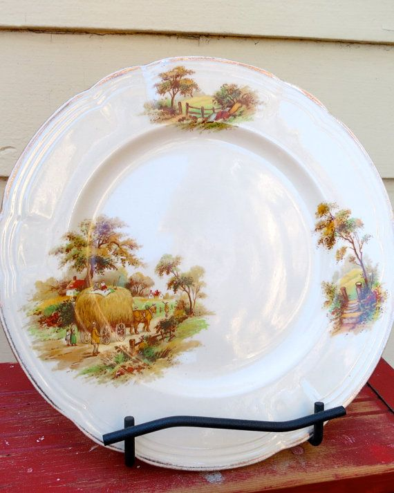 Two 2  Alfred Meakin China Plates  The Hayride  by RedRoofCottage, $24.00