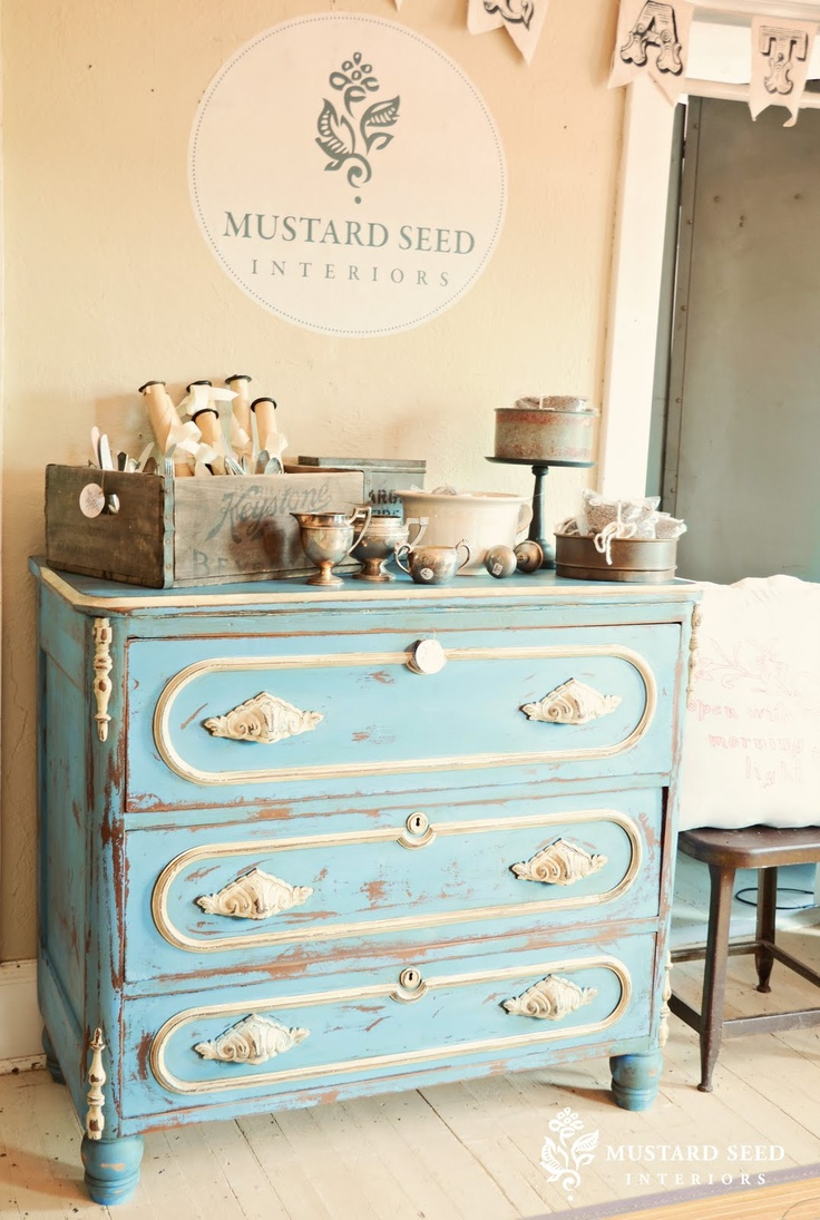 LOVE this Chalk Paint™ Greek Blue dresser by Miss Mustard Seed