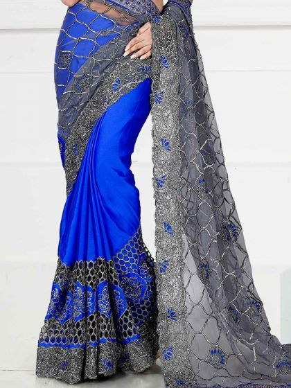 Royal Blue Net And Satin Chiffon Embroidered Party Saree