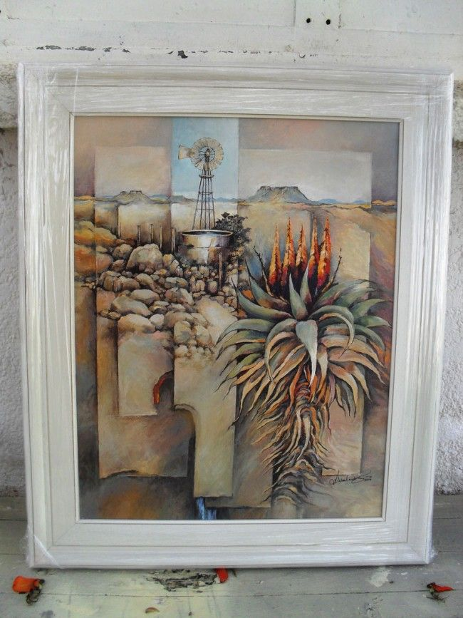 Thirst - Acrylic painting of Windmill in Karoo with aloe - 87 x 72 cm