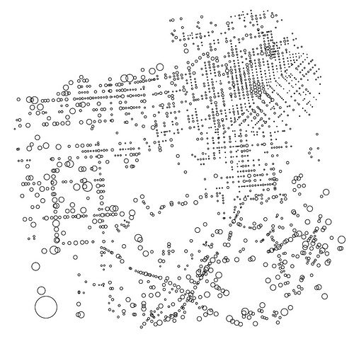 """San Francisco pedestrian injury risk map, by Eric Fisher:   """"Large circles are riskier places: more injuries happening to fewer people. No circle at all means no one was hurt at all, which is ideal. The big circle is Fort Funston and Skyline: 1 injury vs. something like 13 pedestrians a day. At the other extreme, 4th and Stevenson had 1 injury but has tens of thousands of people nearby every day."""""""