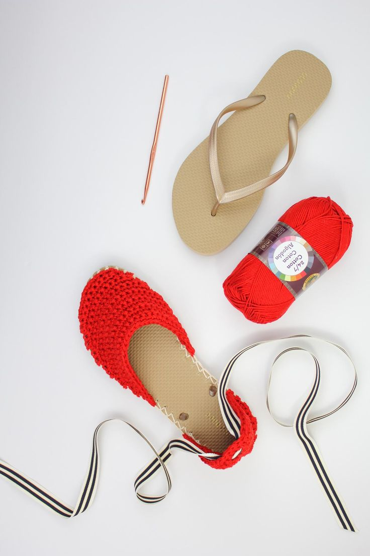 Fun! Make simple crochet espadrilles sandals with flip flop soles. Inexpensive a…