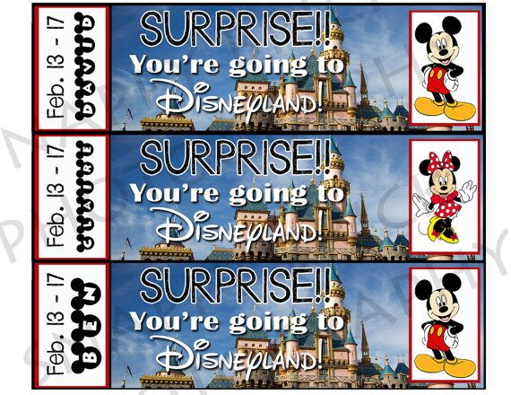 Printable Ticket to Disneyland Custom Name Dates Personalize